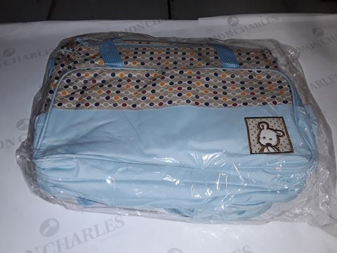 Lot 8331 WRAPPED BLUE AND POLKA BABY CHANGING BAG SET