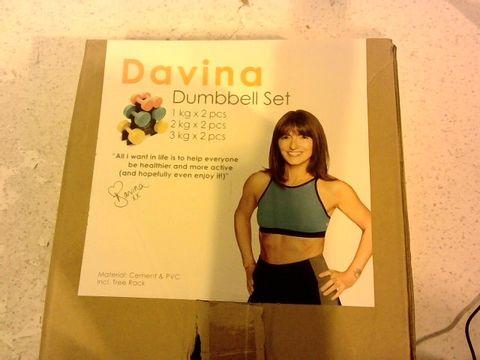 Lot 1317 DAVINA FITNESS 1KG/2KG/3KG VINYL DUMBBELL SET WITH STAND