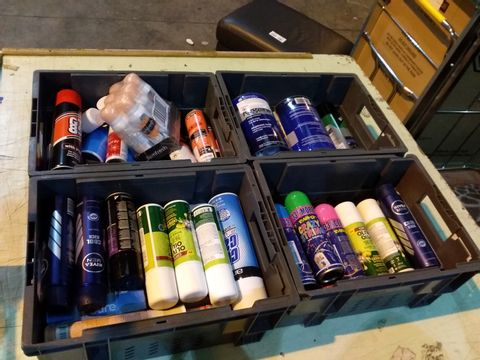 Lot 13 4 TRAYS OF ASSORTED ITEMS TO INCLUDE: ORS SUPER HOLD SPRAY, NIVEA COOL KICK, REGAINE ETC