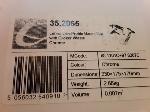 Lot 10659 BOXED CALYPSO LENNA LOW PROFILE BASIN TAP & CLICKER WASTE CHROME