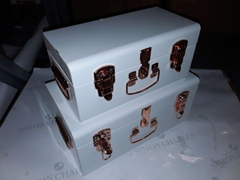Lot 8068 BUNDLEBERRY BY AMANDA HOLDEN SET OF 2 MINI TRUNKS WITH ROSE GOLD FITTINGS