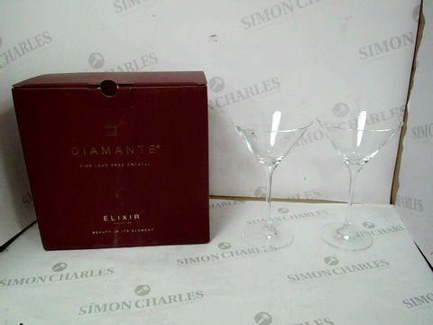 Lot 12935 BOXED SET OF 2 DIAMANTE ELIXIR GLASSES
