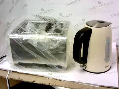 Lot 7218 SWAN STAINLESS STEEL KETTLE AND TOASTER - CREAM RRP £60.00