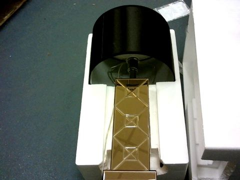 Lot 10497 JM ROSE GOLD MIRRORED TABLE LAMP WITH BLACK SHADE