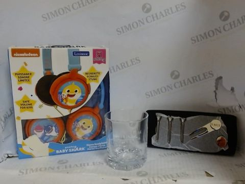 Lot 4633 BOX OF APPROXIMATELY 5 HOUSEHOLD ITEMS TO INCLUDE: PERSONALISED WHISKEY GLASS, PERSONALISED GOLF SET, BABY SHARK STEREO HEADPHONES, ETC. RRP £132.94