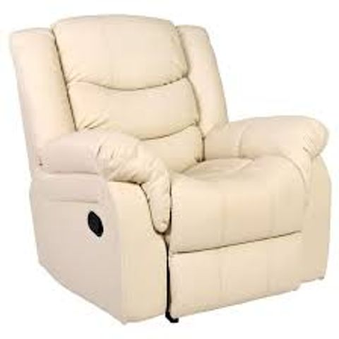 Lot 592 BOXED DESIGNER SEATTLE CREAM LEATHER MANUAL RECLINING EASY CHAIR