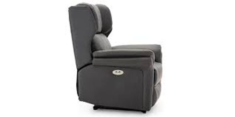 Lot 572 BOXED DESIGNER SLATE LEATHER POWER RECLINING EASY CHAIR (2 BOXES)