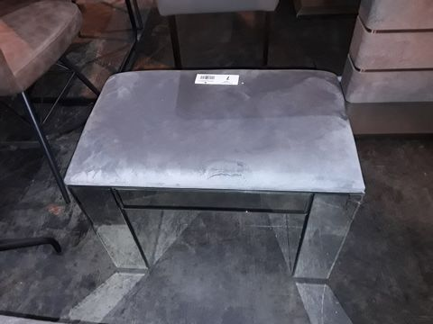 Lot 7 DESIGNER MIRRORED DRESSING STOOL WITH GREY FABRIC TOP