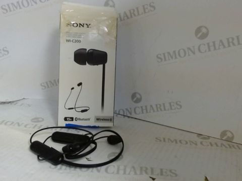 Lot 7523 SONY WI-C200 WIRELESS BLUETOOTH HEADPHONES - BLACK