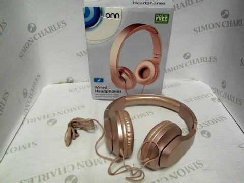 Lot 7375  ONN WIRED HEADPHONES IN ROSE GOLD