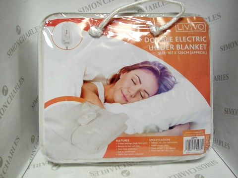 Lot 7368 LIVIVO DOUBLE ELECTRIC UNDER BLANKET - SIZE 107 X 120CM (APPROX)