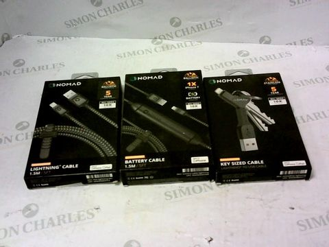 Lot 2136 BOX OF 3 ASSORTED BRAND NEW NOMAD ITEMS TO INCLUDE LIGHTNING CABLE, BATTERY CABLE AND KEY SIZED CABLE