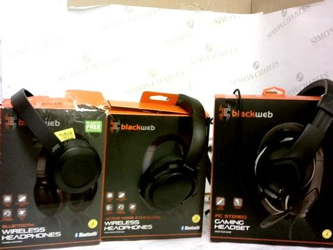 Lot 203 LOT OF 3 BLACKWEB HEADPHONES - WIRELESS BLUETOOTH, WIRELESS NOISE CANCELLING, PC STEREO GAMING