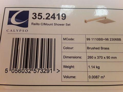 Lot 10662 BOXED CALYPSO RIALTO C/MOUNT SHOWER SET BRUSHED BRASS
