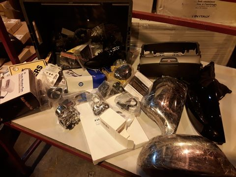 Lot 45 ASSORTED VEHICLE ACCESSORIES INCLUDING, PAIR CHROME EFFECT MIRROR COVERS, 12V FAN HEATER, CARBURETTOR, CONVEX MIRROR LENS, SMALL FOLDING SEA ANCHOR.