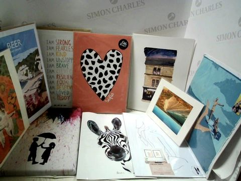 Lot 33 LOT OF APPROXIMATELY 10 ASSORTED PRINTS AND POSTERS ETC