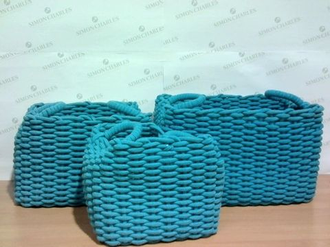 Lot 1333 LOT OF 3 PURPLE BIG WEAVE ROPE STORAGE CONTAINERS