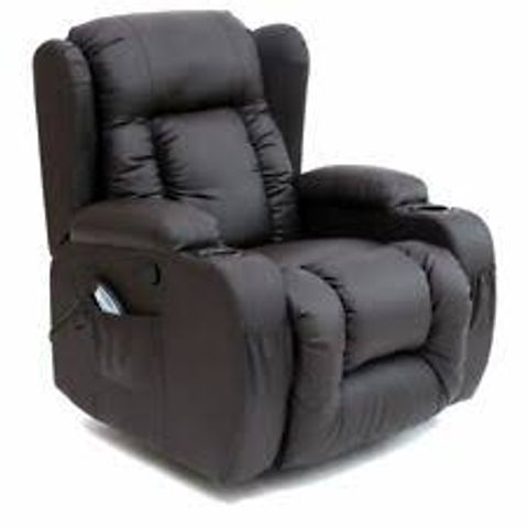 Lot 565 BOXED DESIGNER BROWN LEATHER SWIVEL MASSAGE RECLINER CHAIR