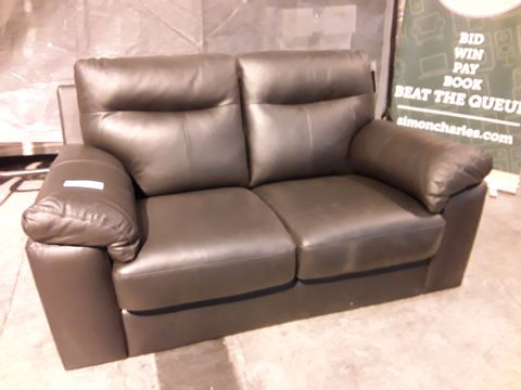 Lot 503 DESIGNER DARK BROWN FAUX LEATHER TWO SEATER SOFA