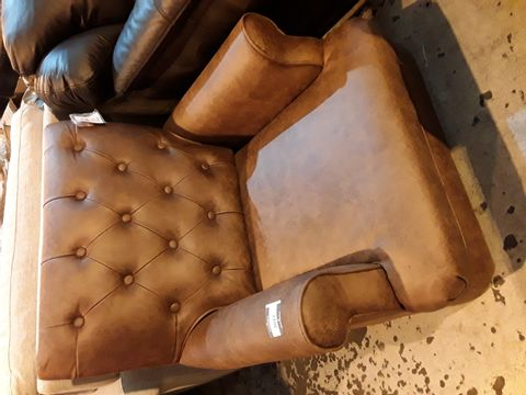 Lot 3027 DESIGNER DISTRESSED TAN LEATHER BUTTONED BACK ARMCHAIR