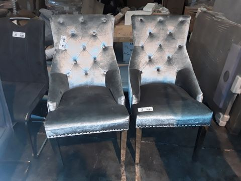 Lot 24 PAIR OF DESIGNER SILVER FABRIC UPHOLSTERED DINING CHAIRS WITH STUDDED DETAIL ON POLISHED METAL SUPPORTS