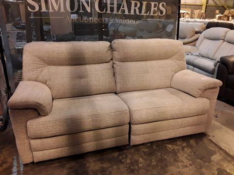 Lot 632 QUALITY BRITISH MANUFACTURED HARDWOOD FRAMED BEIGE FABRIC MANUAL RECLINING THREE SEATER SOFA
