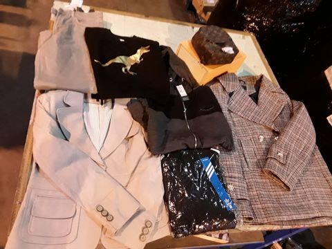 Lot 13523 CAGE OF ASSORTED DESIGNER ADULTS CLOTHING TO INCLUDE: M&S BLAZER, SUPPLY AND DEMAND HOODIE, NEXT JAVKET, ADIDAS TOP, ZARA TROUSERS, ZARA JEANS, NORTH FACE BODY WARMER, LUIS