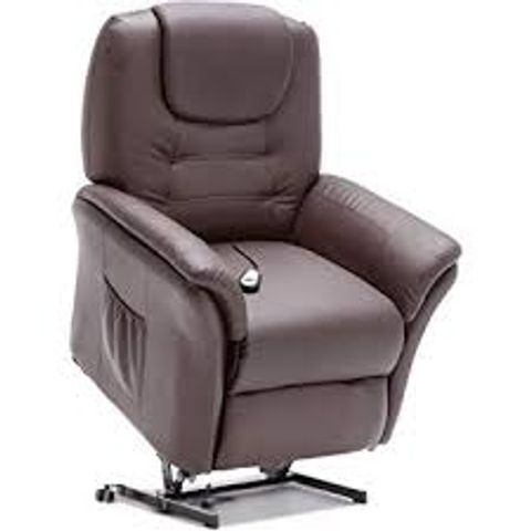 Lot 600 BOXED DESIGNER WINDSOR BROWN LEATHER POWER RISE & RECLINING EASY CHAIR (2 BOXES)