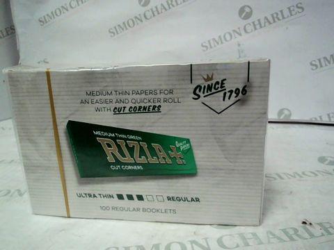 Lot 12872 BOX OF APPROXIMATELY 100 RIZLA REGULAR GREEN MEDIUM THIN PAPERS