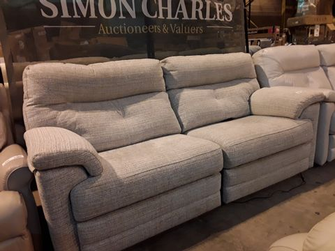 Lot 608 QUALITY BRITISH MANUFACTURED HARDWOOD FRAMED BEIGE FABRIC POWER RECLINING THREE SEATER SOFA