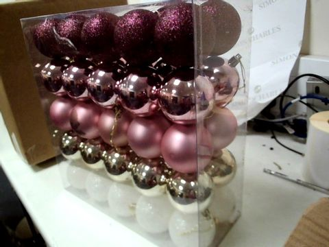 Lot 214 THREE PACKS OF BAUBLES FROSTED ROSE EACH 50 RRP £38.97