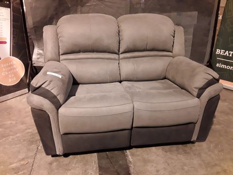 Lot 517 DESIGNER PETRA TWO TONE GREY SUEDE MANUAL RECLINING TWO SEATER SOFA