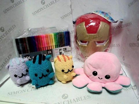 Lot 4453 LOT OF A LARGE QUANTITY OF ASSORTED TOYS AND GAMES, TO INCLUDE IRON MAN MASK, REVERSIBLE OCTOPUS, 25PC PEN SET, ETC