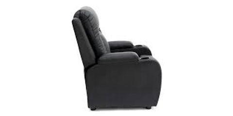 Lot 583 BOXED DESIGNER BLACK LEATHER PUSHBACK RECLINING EASY CHAIR