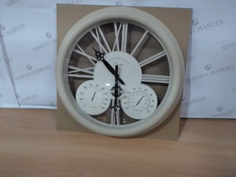 Lot 1134 BOXED BRAND NEW EXETER WALL CLOCK & THERMOMETER  RRP £40.00