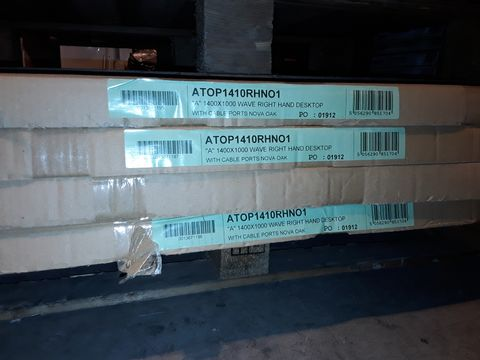 Lot 5092 LOT OF 4 BRAND NEW 1400X1000MM WAVE RIGHT HAND DESKTOPS WITH CABLE PORTS - NOVA OAK