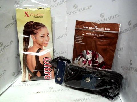 Lot 8021 LOT OF APPROXIMATELY 7 ASSORTED COSMETIC ITEMS, TO INCLUDE SATIN LINED BONNET CAP, X-PRESSION ULTRA BRAIDS, NUBIA'S CROWN FAUX LOCS, ETC