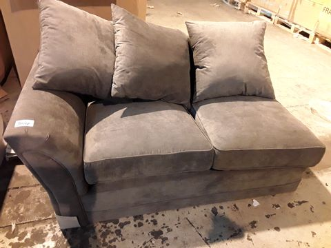 Lot 3014 GREY FABRIC TWO SEATER SECTION WITH SCATTER CUSHIONS