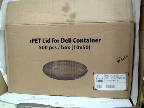 Lot 361 RPET  LID FOR DELI CONTAINER - 500 PIECES 10X50