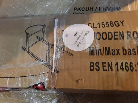 Lot 7128 BOXED WOODEN ROCKING CRIB STAND GREY
