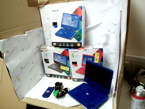 Lot 12103 LOT OF 3 POLAROID 9 INCH PORTABLE DVD PLAYERS IN BLACK, RED AND BLUE