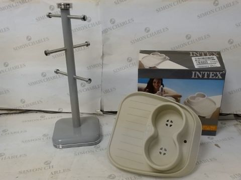 Lot 27 LOT OF 2 HOUSEHOLD ITEMS, TO INCLUDE SWAN RETRO MUG TREE & INTEX PURESPA CUP HOLDER RRP £33.00