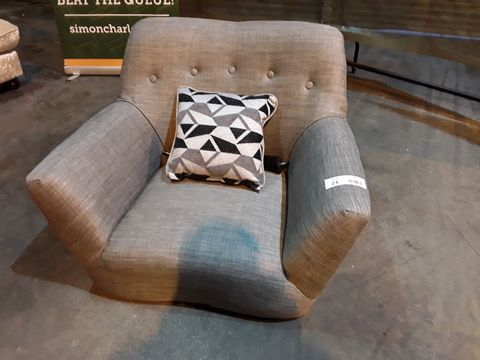 Lot 21 DESIGNER GREY FABRIC RETRO STYLE EASY CHAIR WITH BUTTONED BACK