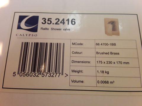 Lot 10670 BOXED CALYPSO RIALTO SHOWER VALVE BRUSHED BRASS