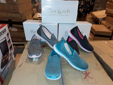 Lot 8227 BOX OF APPROXIMATELY 16 ASSORTED PAIRS OF FLEX & SOFT SLIP ON TRAINERS IN VARIOUS COLOURS INCLUDING TEAL, CHARCOAL/CERISE AND GREY/PINK - ASSORTED SIZES