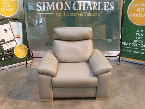 Lot 1994 QUALITY ITALIAN GREY LEATHER UPHOLSTERED POWER RECLINING ARMCHAIR