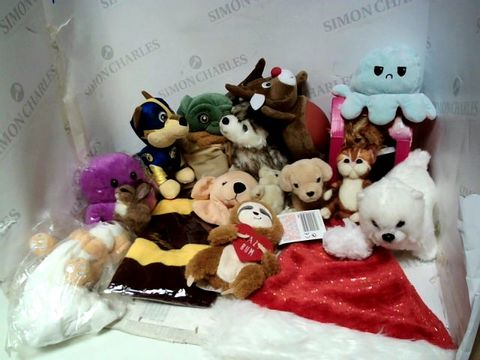 Lot 187 BOX OF ASSORTED SOFT TOYS TO INCLUDE DOGS, YODA, PAW PATROL