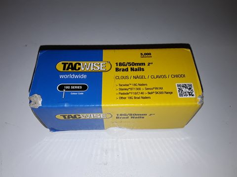 Lot 5031 5000 GALVANISED TACWISE 18G/50MM BRAD NAILS