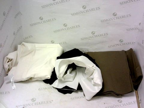 Lot 8003 BOX OF A SIGNIFICANT QUANTITY OF ASSORTED DESIGNER CLOTHING ITEMS TO INCLUDE DESIGNER CREAM TROUSERS, DESIGNER BLACK/WHITE TOP, DESIGNER BROWN TROUSERS ETC