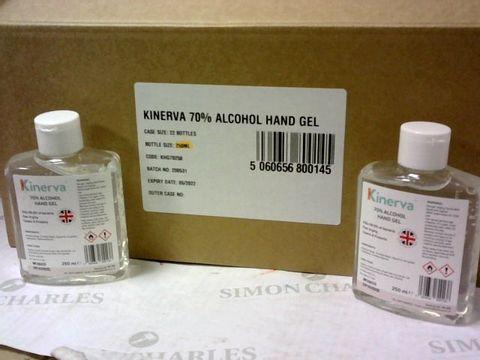Lot 111 CASE OF 22 BOTTLES OF KINERVA 70% ALCOHOL HAND GEL 250ml